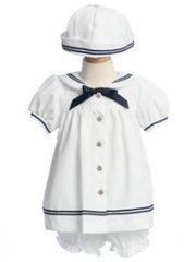 Baby Girl's Sailor Dress with Matching Hat