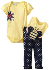 Baby Togs Baby Girls Newborn Bumblebee 3 Piece Bib Set