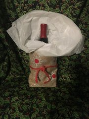 Lined Christmas Burlap Gift Bag