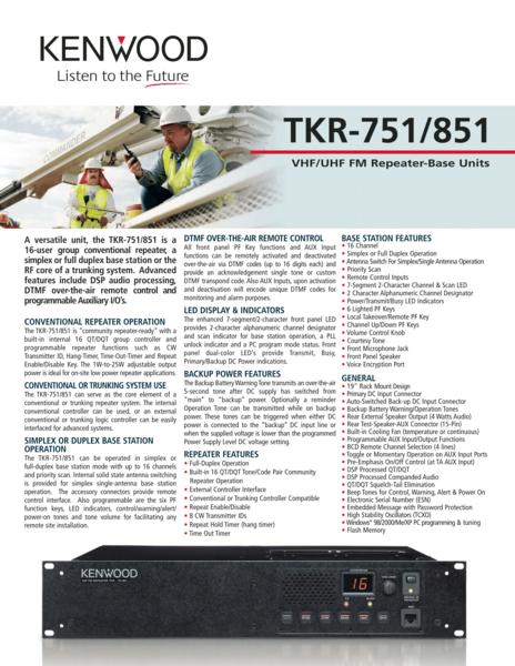 TKR-751/851 VHF/UHF FM Repeater-Base Units