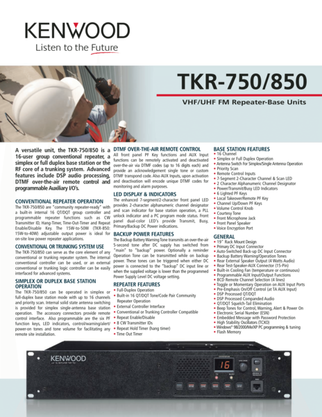 TKR-750/850 VHF/UHF FM Repeater-Base Units