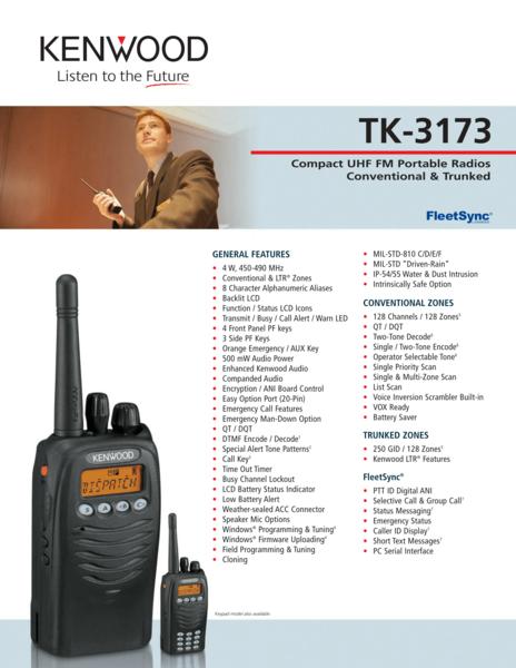 TK-3173 Compact UHF FM Portable Radios