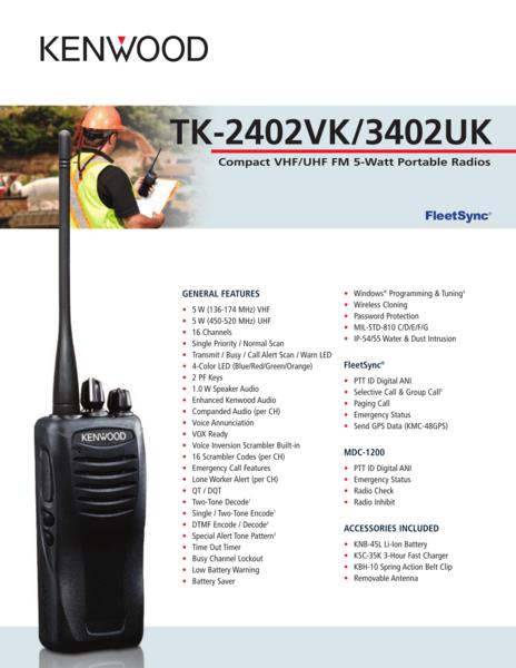 TK-2402VK/3402UK Compact VHF/UHF FM 5-Watt Portable Radios