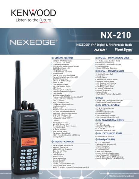 NX-210 NEXEDGE® VHF Digital & FM Portable Radio