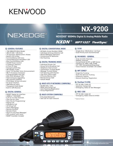 NX-920G NEXEDGE® 800MHz Digital & Analog Mobile Radio