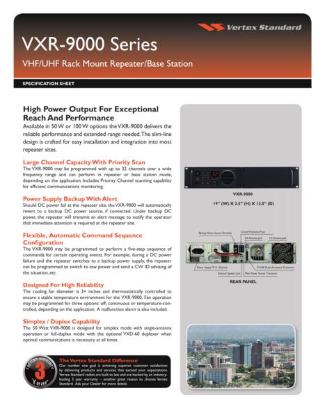 VXR-9000 Series VHF/UHF Rack Mount Repeater/Base Station