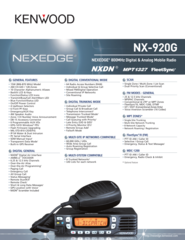 NX-920G NEXEDGE® 800MHz Digital & Analog Mobile Radio