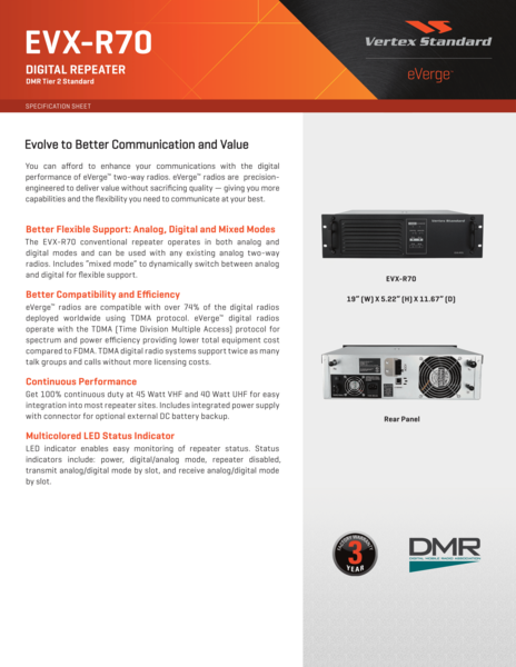 EVX-R70 DIGITAL REPEATER