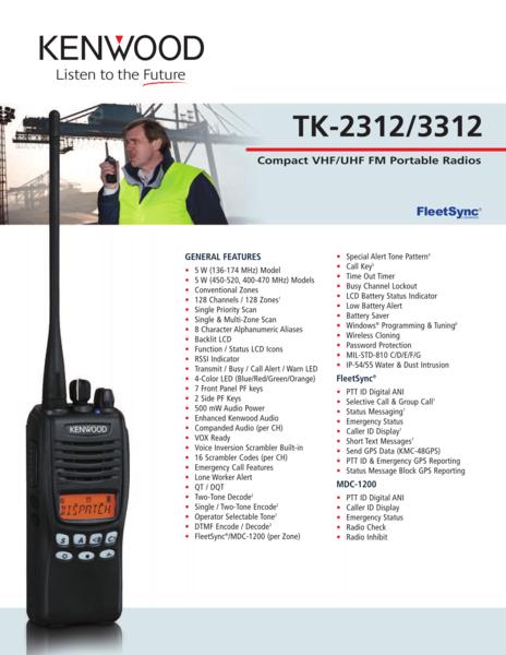 TK-2312/3312 Compact VHF/UHF FM Portable Radios