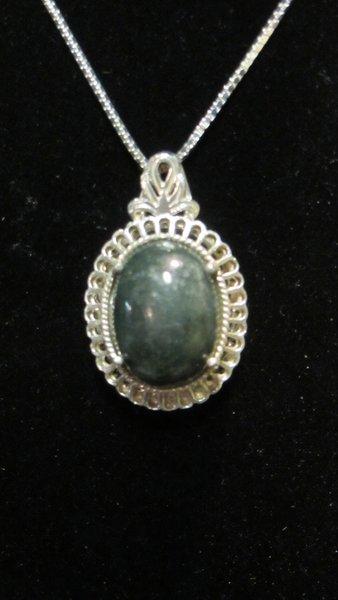 Dark Green Jade in Sterling Silver