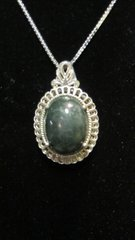 Dark Green Jade in Sterling Silver