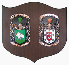 "Hand Painted Double Coat of Arms on Copper (Cadet 11.5"" x 12.5"") on Walnut"