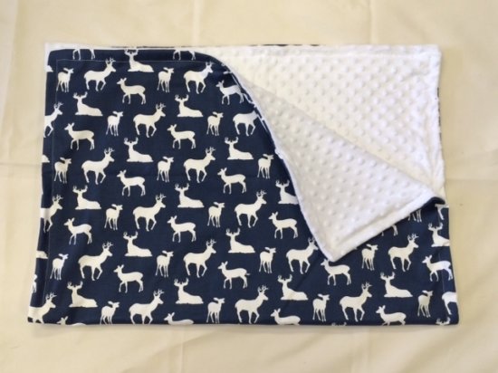 deer baby blanket navy