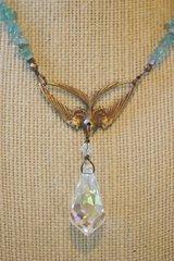 Aquamarine and Swarovski Crystal Swallow Necklace