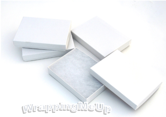 55x35x1 WHITE SWIRL Cotton Lined Jewelry Gift Boxes