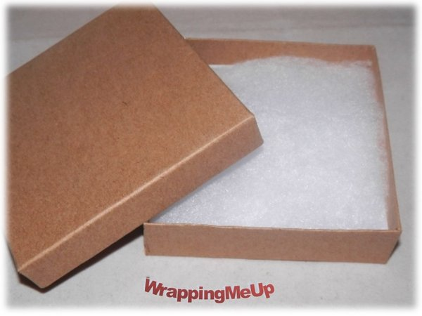 Lot of 20 35x35x1 Natural Kraft Cotton Lined Jewelry Gift