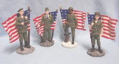 PATRIOTIC FIGURINES - Set (4) Patriotic Women Figurines in Military Uniforms with flags