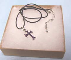 "JEWELRY: Beautiful Purple Cross Metal Pendant Black Rubber Cord 16"" Necklace - Joycelyn Collection"