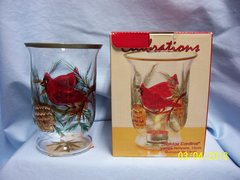 CANDLE HOLDER: Holiday Cardinal Tealight Glass Candle Holder by Celebrations