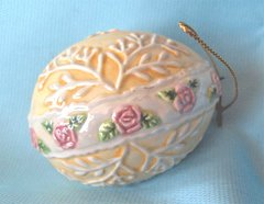 """EASTER EGG: Hand-painted Ceramic Easter Egg Tree Ornament Yellow with Pink Roses 2.5"""" H"""
