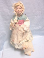"""COLLECTIBLE DOLL: Handcrafted Porcelain Collectible 14"""" Doll Little Bo Peep with her Lamb"""