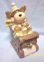 """HOLIDAY MOOSE FIGURINE: Cute Holiday Moose in Sled with Presents Figurine 10"""" in Height"""