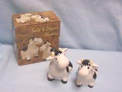 """SALT & PEPPER SHAKERS: Collectible Cow Salt & Pepper Shakers w/Box Dolomite 3 1/2"""" Tall Kitchen Decor"""