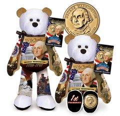 """GOLDEN DOLLAR COIN BEAR 9"""" Presidential Collectible Dollar Bear - GEORGE WASHINGTON"""