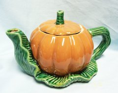 "TEAPOT - Decorative Collectible Pumpkin Teapot and Lid, Tea Pot 5 3/4"" tall Ceramic Fall Decoration"