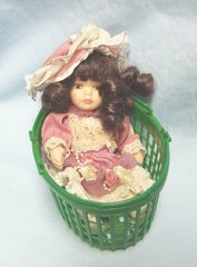 """DOLL: Collectible Porcelain Jointed 7"""" Doll Pink Dress & Hat in Green Basket"""