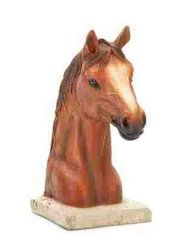 "COLLECTIBLE HORSE ANIMAL FIGURINE - Horse Head Bust Figurine, Polyresin 8"" tall"