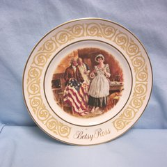 "PLATE: Vintage Avon 1973 Decorative Plate ""Betsy Ross"" by Enoch Wedgwood England"