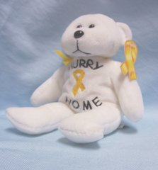 "Patriotic Bear - ""Hurry Home"" Plush White Teddy Bear Plushland 2006 Yellow Ribbon"