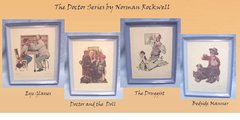 "PICTURES: Pictures, Set of (4) Prints of THE DOCTOR SERIES 1956 Normas Rockwill Blue Frames 9"" x 11"""