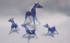 MINIATURES: Set (4) Miniature Vintage Blue Glass Deer Collectible Figurines