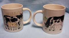 "CUPS: Pair Cow Cups/Mugs Mom with Calf and Dad 4"" Tall Ceramic"