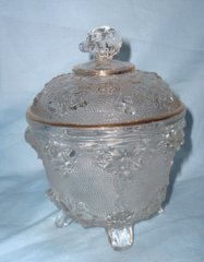 JEANNETTE GLASS CANDY DISH - Clear GLASS Footed CANDY BOWL and Lid #3525