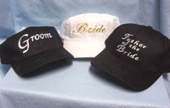 BASEBALL HATS: 100% Cotton Ball Caps for Wedding White Bride, Black Groom, Father of the Bride