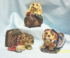 COLLECTIBLE ANIMAL FIGURINE - Set of (3) Collectible Mischievous Puppy Figurines