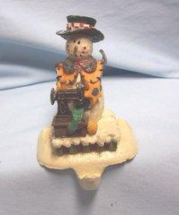 STOCKING HOLDER: Vintage Cast Iron Stocking Holder/Stocking Hanger Christmas Snowman with Sewing Machine