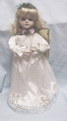 "COLLECTIBLE DOLLS: Beautiful Musical 18"" Porcelain Angel Doll with Gold Wings"