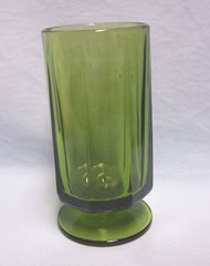 """VASE: Nice Multi-sided Footed Heavy Glass Vase Green 3"""" Diameter 6"""" Tall"""