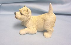 """FIGURINE: Cute Collectible West Highland Terrier Puppy Figurine 3"""" Tall Polyresin"""