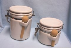 CANISTERS: Pair Tight Locking Canister by ALCO Ind. Spoon Holder on Side with Wooden Spoons Included