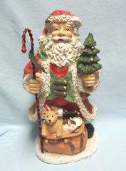 "CHRISTMAS SANTA FIGURINE: Santa Christmas with Bag of Toys by Brinnco 11 3/4"" tall USA"