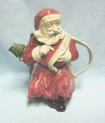 "SANTA TEAPOT: Ceramic Santa Teapot with lid by Windsor Collection 8 1/4"" tall"