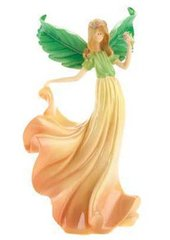 "COLLECTIBLE ANGEL FIGURINE by CloudWorks™ 6"" Stone Resin - PEACH BLOSSOM"