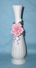 "BUD VASE: Decorative Art White 7 7/8"" Tall Slender Bud Vase w/ Embossed Pink Rose Purple Ribbon"