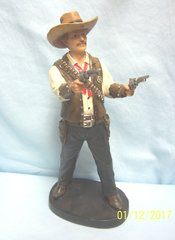 "Wild West Gunslinger Figurine 12 1/4"" Tall Polyresin Frontier Sheriff Figurine"