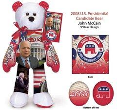 "JOHN MCCAIN - Plush Collectible 9"" Patriotic Teddy Bear - Limited Treasures"